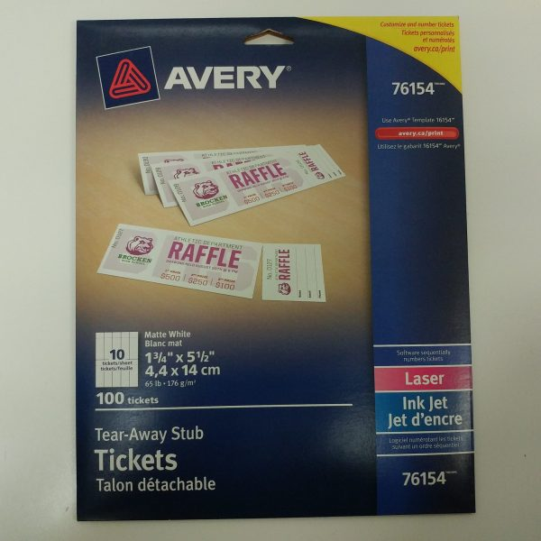 avery tear away stub tickets 100 pack